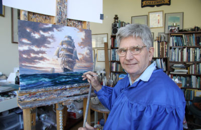 John Horton, Marine artist adds finishing touch to Clipper Ships painting in artist studio