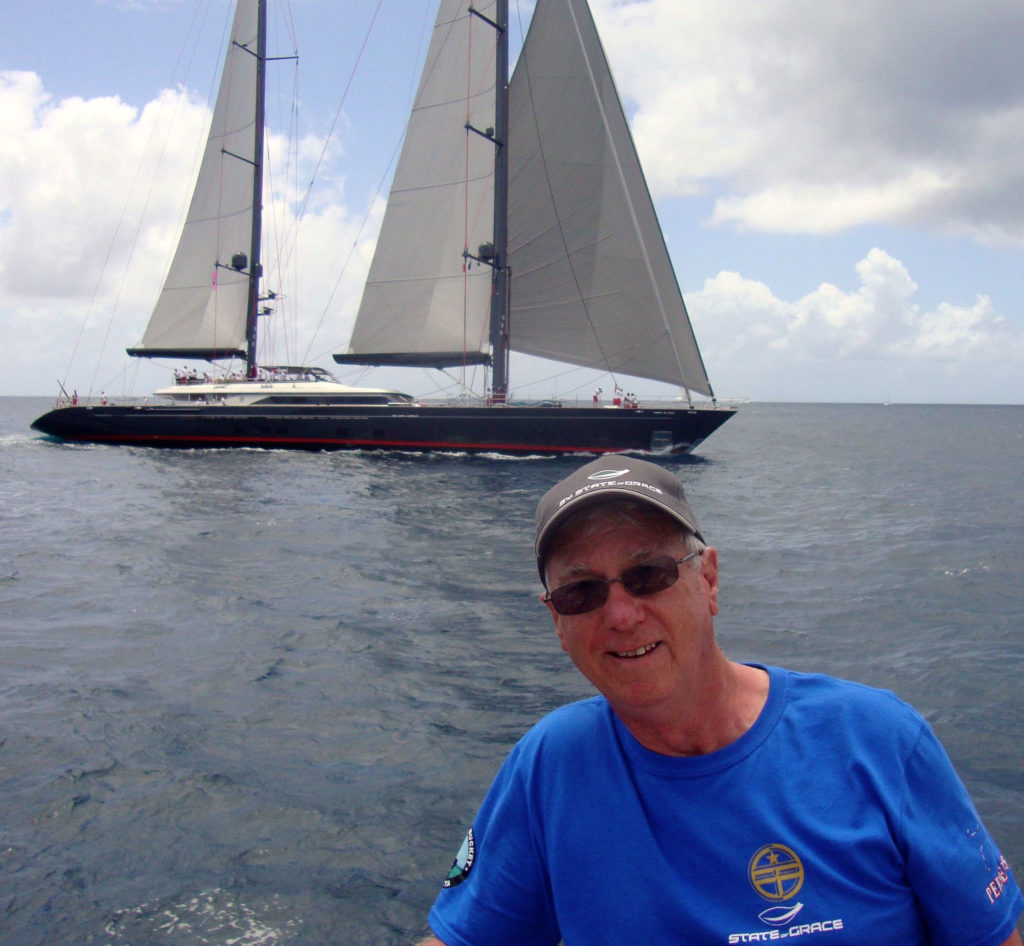 Ron Holland and Sailing Yacht Seahawk in background at st Barths