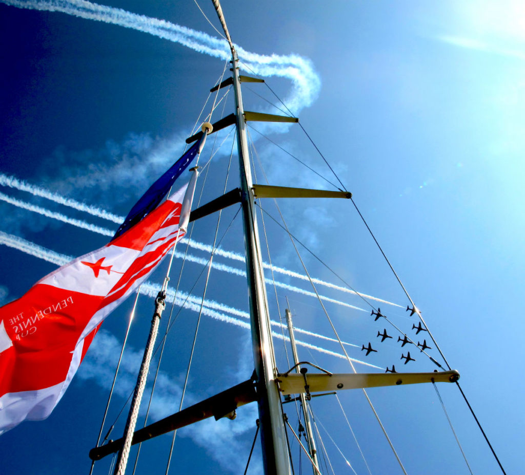 Red Arrows fly through mast of sailing yacht Christopher at Pendennis Cup