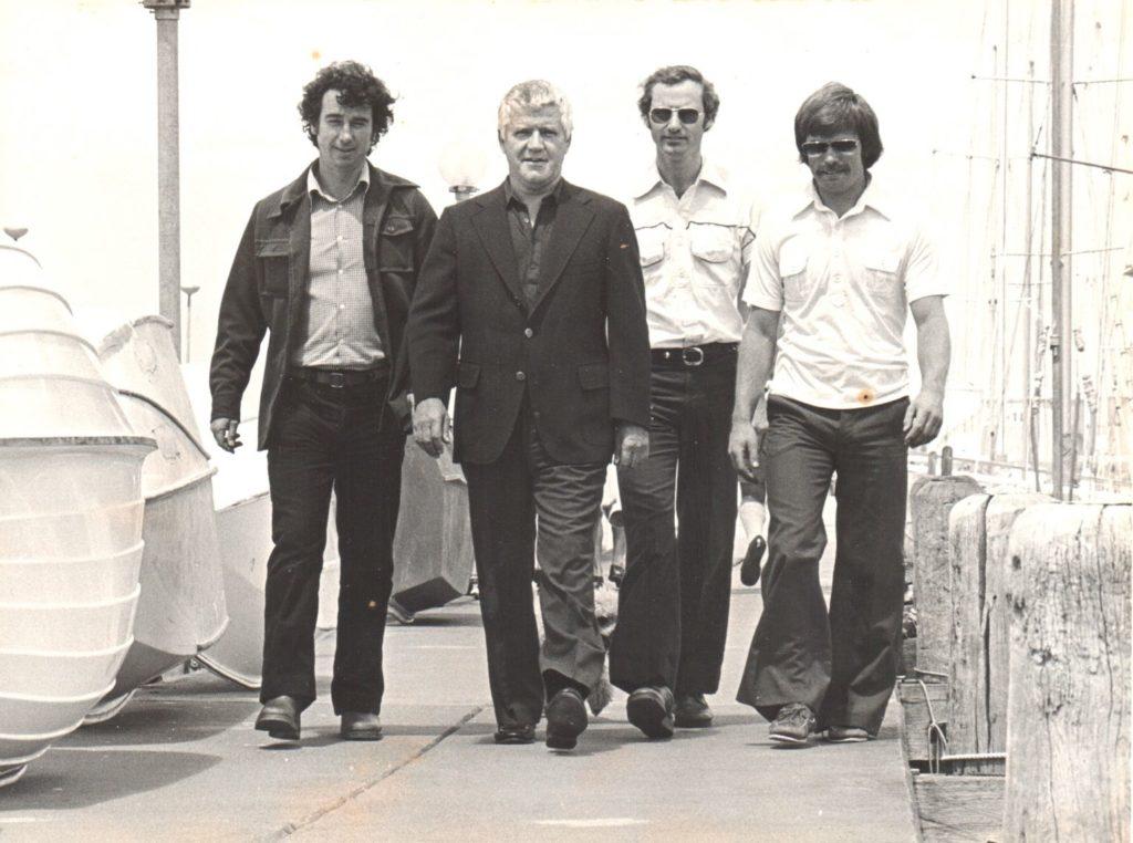 Kiwi yacht designers walk to meeting 1978