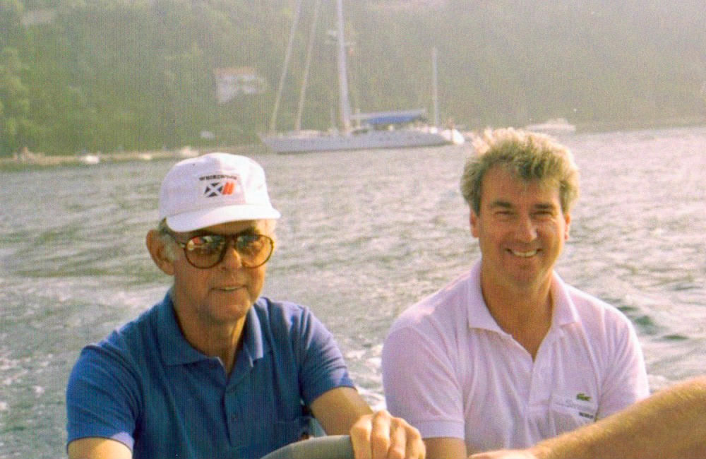 Noel Lister and Ron Holland sailing in Mediterranean