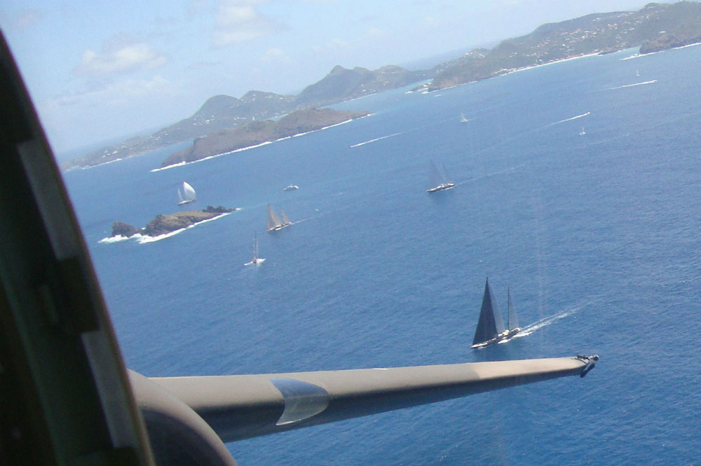 flying low over the race St Barths Bucket, thanks Lewis Air Legends