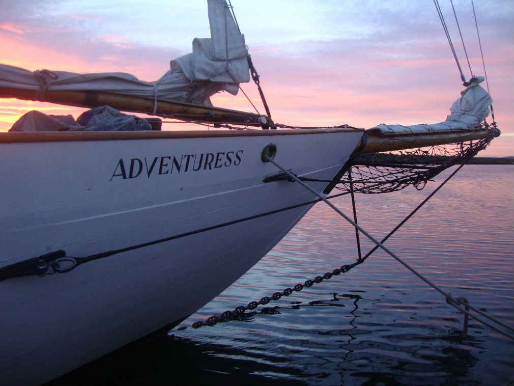 Bow at sunset sailing yacht Adventuress
