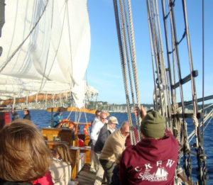 Hoisting mainsail on sailing schooner Adventuress, no winches here