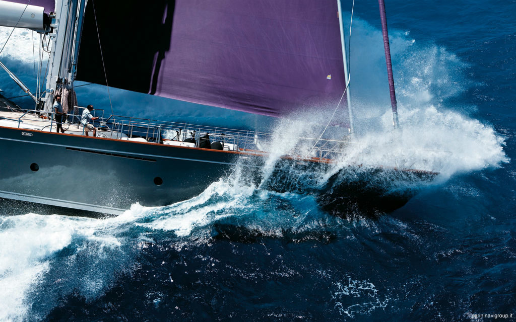 Baracuda going fast, a Perini Navi Ron Holland Design 50 metre sailing yacht