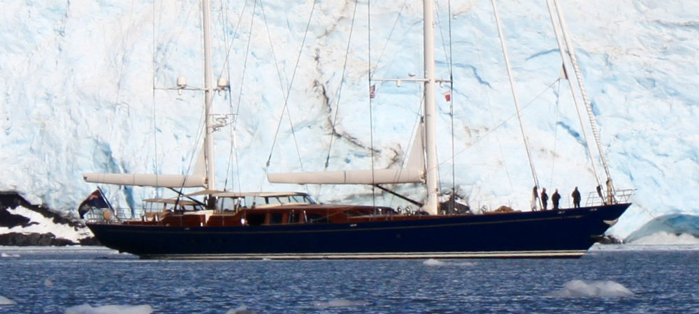 Alaskan iceberg creates ack drop for sailing yacht Christopher