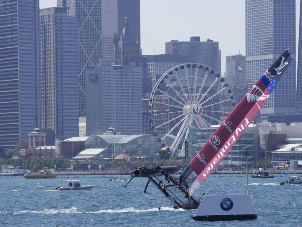 Catamaran tipping at America's Cup Chicago June 2016