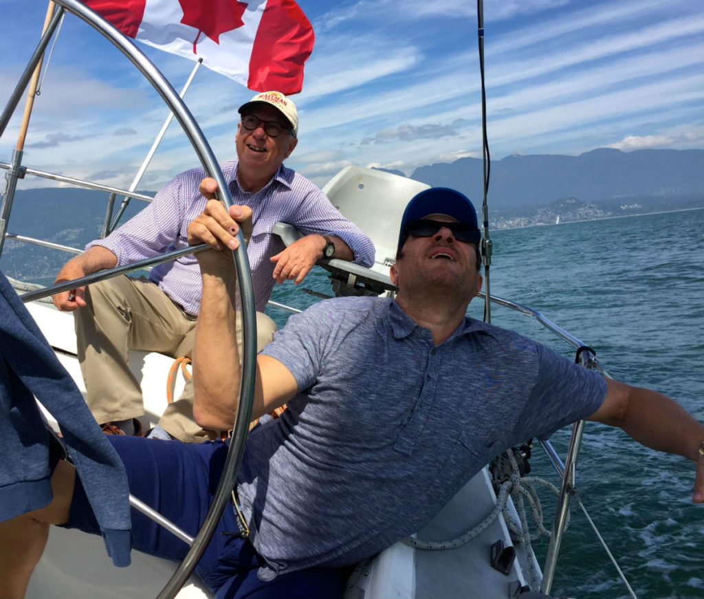 Simon Le Bon and Ron Holland sailing in Vancouver