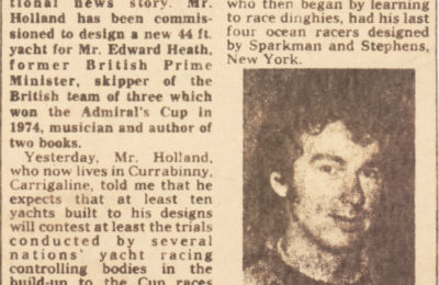 news story about Irish Prime Minister Edward Heath Yacht to be Designed in Cork, Cork Examiner December 30, 1976 features photo of Ron Holland who will design the Yacht