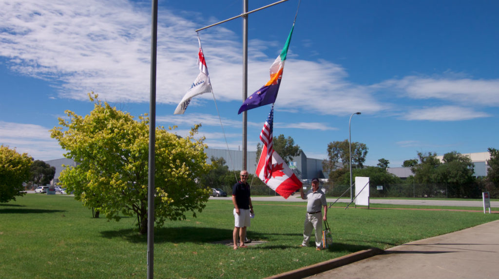 Flag display with Alistair Murray and Ron Holland during visit to Ronstan and the Sandringham Yacht Club, Melbourne