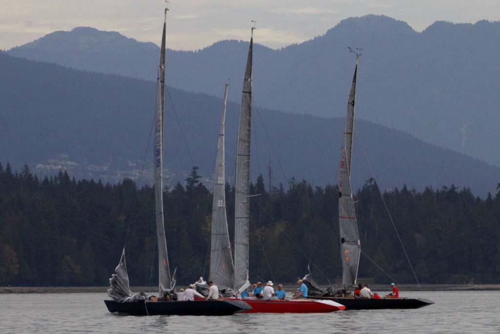 Nuvolari with other 6 Metre sailing vessels in harbour Vancouver BC Canada