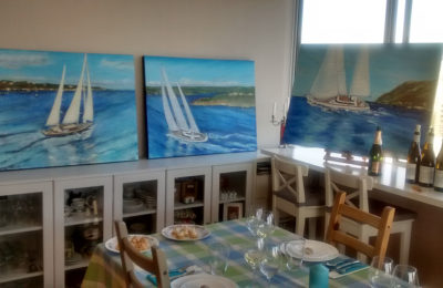 ArtEats Bohemian Dinner and Exhibition of features and paintings of Ron Holland yachts