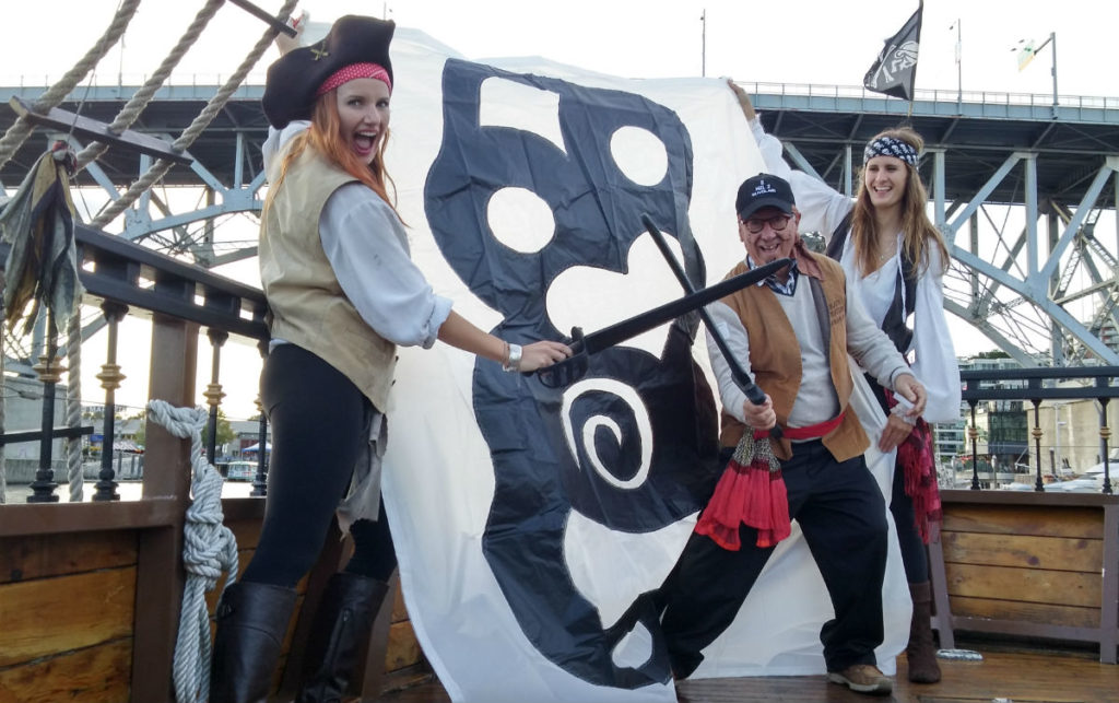Team New Zealand battle flag revealed, Ruthless Ron rescues it from pirates