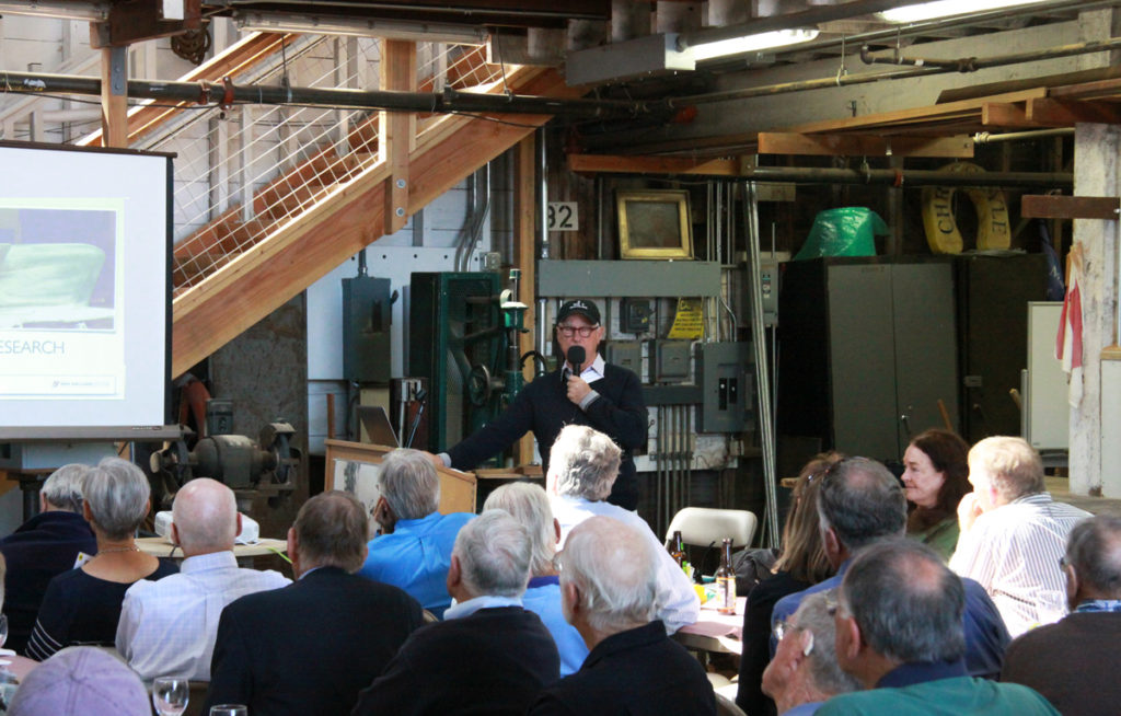 Spaulding Center in Sausalito California, Ron Holland presents 50 years of wooden boat design for members of the CCA (Cruising Club of America)
