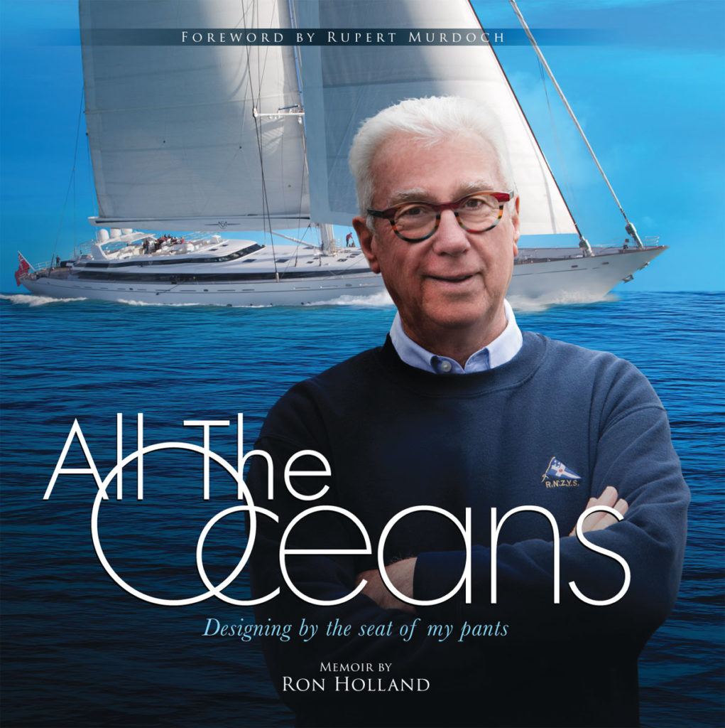 Book jacket artwork for front cover Ron Holland's memoir, All The Oceans