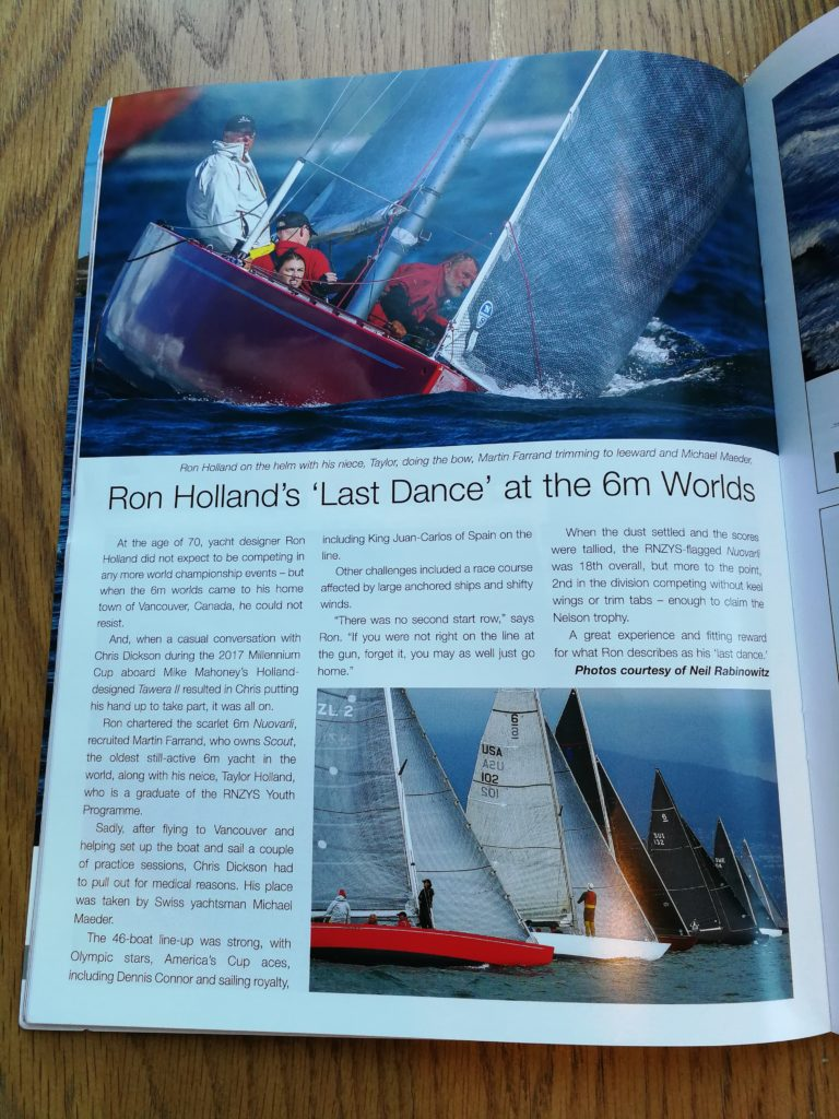 Royal New Zealand Yacht Squadron publication Breeze Magazine features Ron Holland at 6 Metre Worlds, photos and story