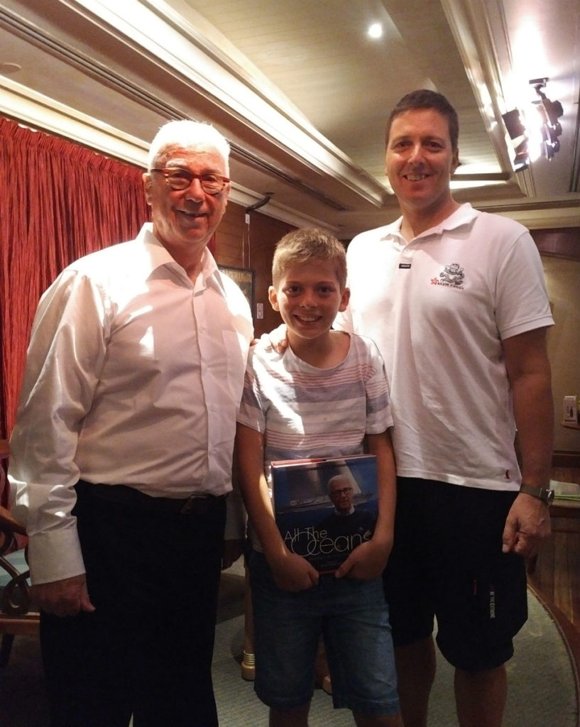 Book Launch at Royal Hong Kong Yact Club, Ron Holland with young sailor Lucas and his dad John Bateman