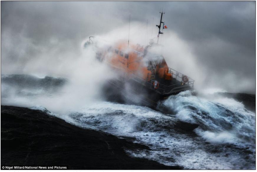 Tamar class life boat in the coastal waters off Ireland, photo by Nigel Millard
