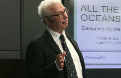 Ron Holland presents his memoir All The Oceans at Clyde & Co London UK June 2018
