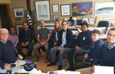 Ron Holland and students from UBC NAME program visit the studio to discuss motor yachts, October 2018 Vancouver British Columbia