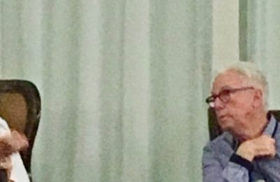 Charley Morgan and Ron Holland in discussion about sailing yachts at St Petersburg Yacht Club, Florida