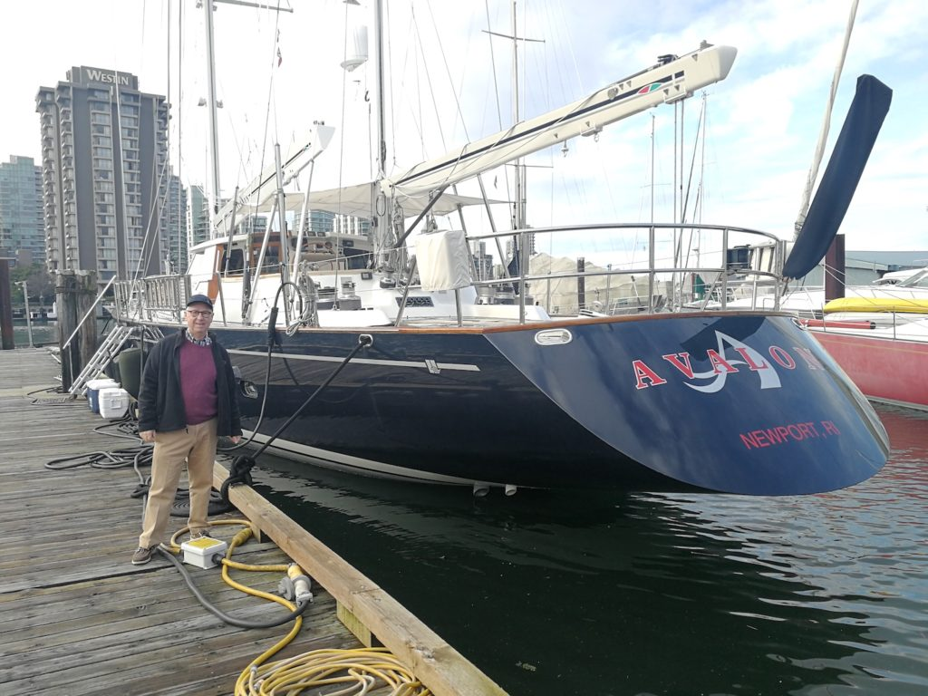 "Ron Holland is dock side with sailing yacht ""Avalon"" in Vancouver BC Canada"