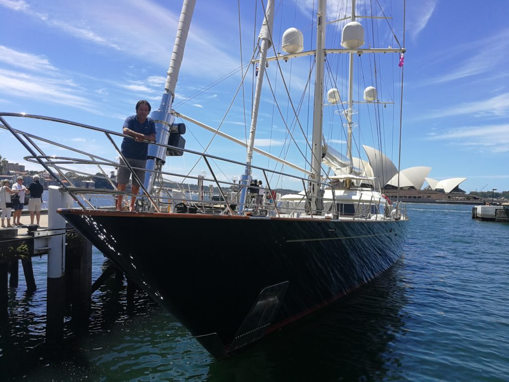 Sailing yacht, Fidelis in Sydney Australia with Opera House in background