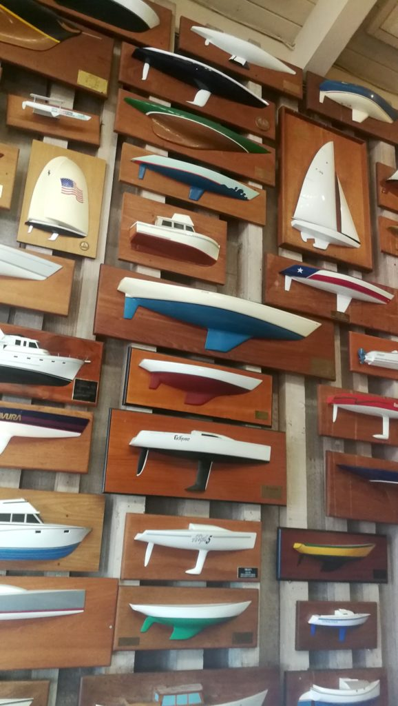 Yacht model wall at Fiddlers Green Restaurant in San Diego