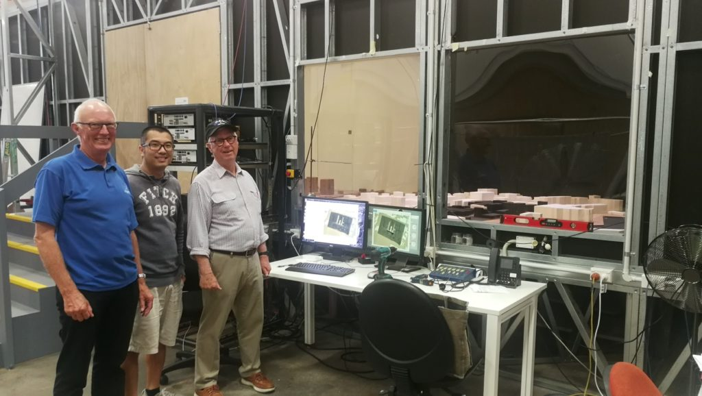 Ron Holland, Professor Richard Flay, and Dr Yin Fai Li viewing latest wind testing program at University of Auckland