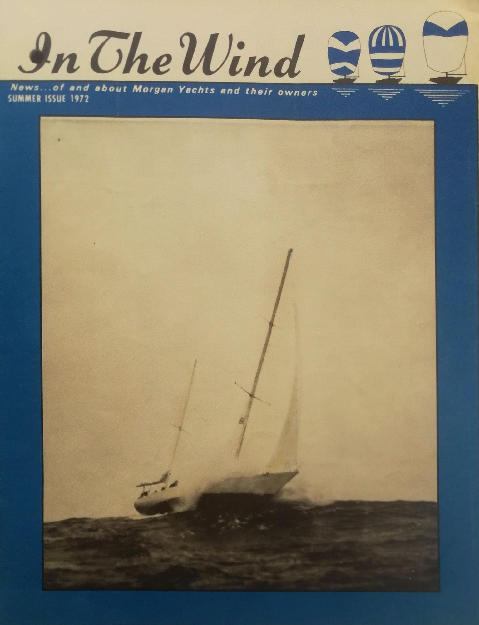"Sailing yacht ""Firebrand"" by Morgan Yachts in1971 Bermuda Race under Trysail and #3 Jib"