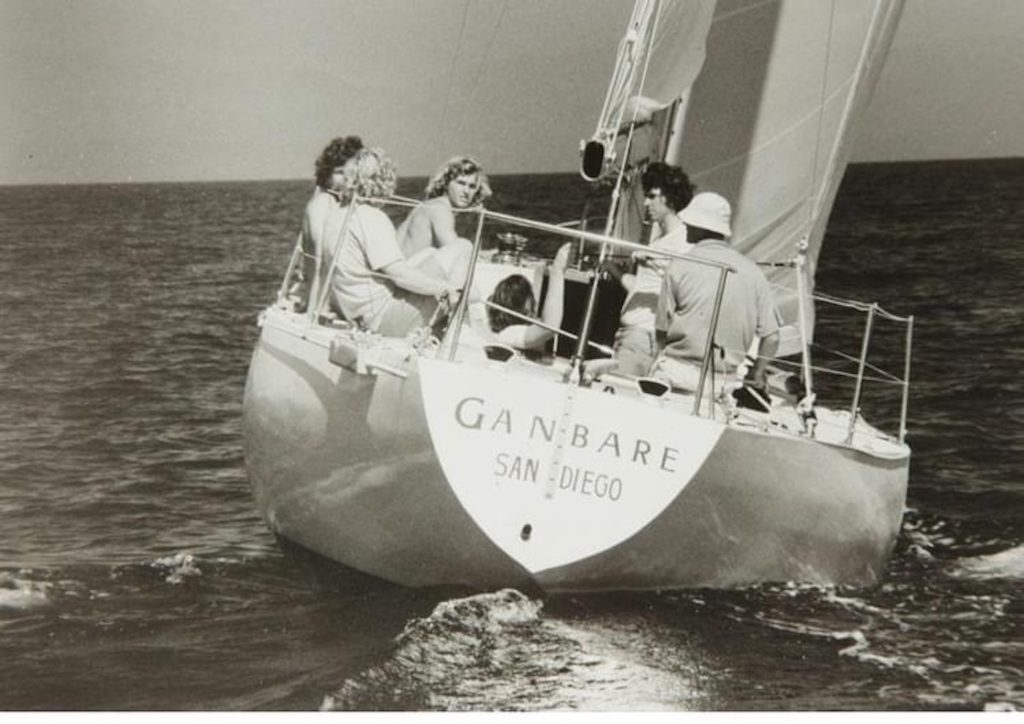 sailing yacht Gambare designed by Ron Holland racing off Porto Cervo, Italy 1973