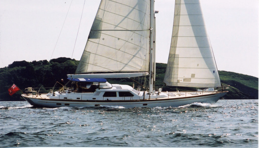 """Ron Holland Design yacht """"Golden Opus"""" sailing in Singapore waters"""