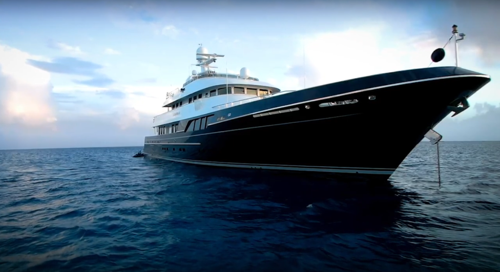 Bow of the Dorothea III, the view from water level of this Ron Holland Design motor yacht