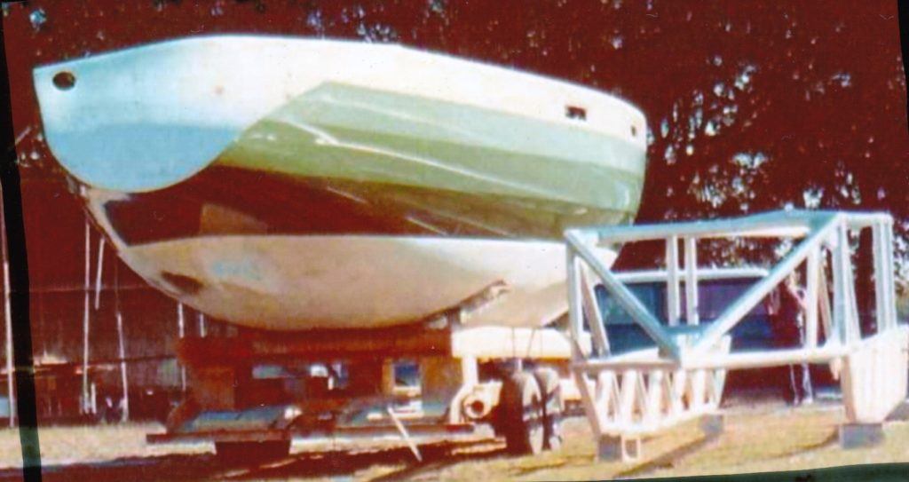 "Hull for ""imp"" on trailer Plant City FL, USA, the boat also know as the Green Striped Machine due to its race success"