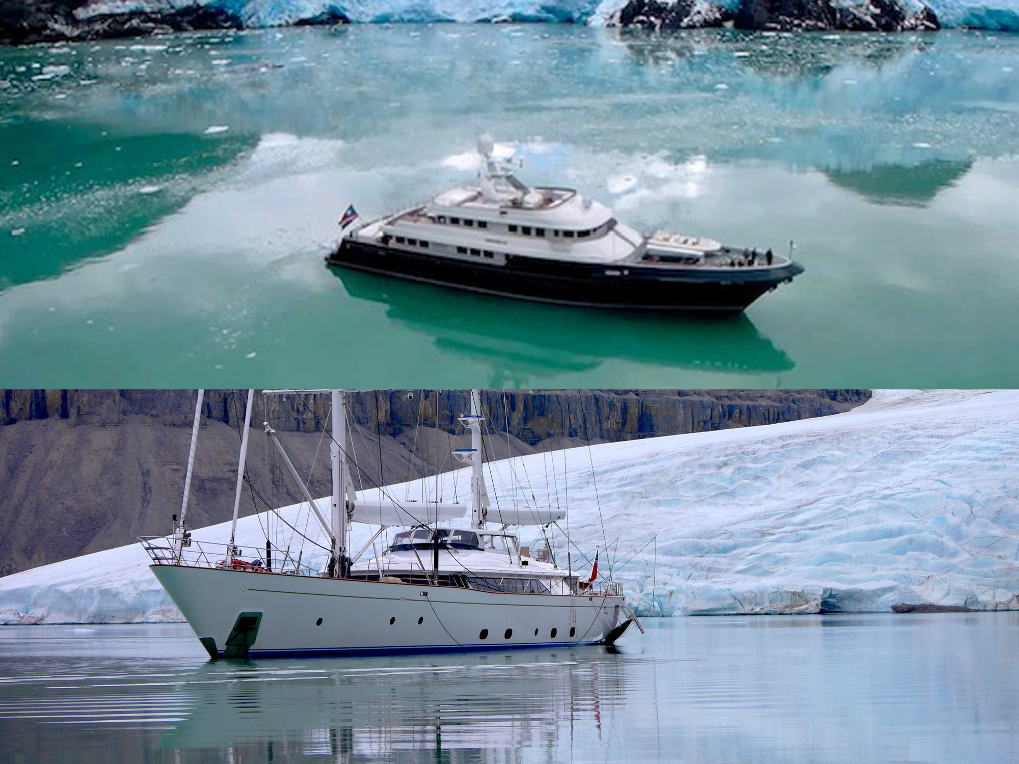 Boat International Voyager's Award winning yachts 2019 and 2020 by Ron Holland Design in arctic waters with ice